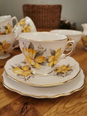 Vintage Royal Vale Bone China Yellow Flowers 20 Piece Tea Set In Excellent Cond • 20£