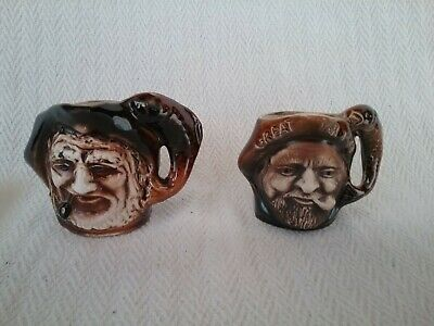 2 X Vintage Great Yarmouth Pottery Norfolk Small Character Fisherman Toby Jugs • 12.50£