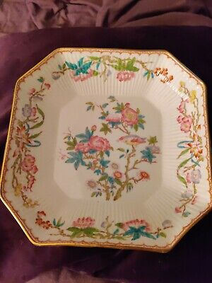 Antique Hand Painted 8.5  Square Serving Dish MINTONS Cuckoo Bird England 1914 • 19.99£
