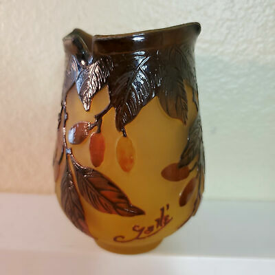 Leaf & Berries Cameo Glass Vase Signed Galle Made In France • 87.74£