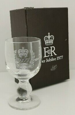 Vintage 1977 Webb Continental QE11 Silver Jubilee Glass Crystal Goblet & Box • 9£