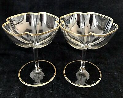 FABULOUS PAIR Of EXQUISITE MOSER QUATREFOIL CHAMPAGNE SAUCERS/COUPES Early 20thC • 120£