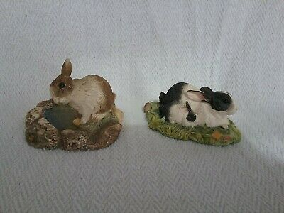 2x Beswick Studio Rabbit Sculptures Countryside Series Bright Eyes & Contentment • 12.50£
