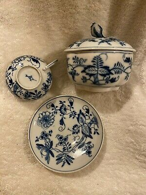 Dresden/meissen Blue And White Sucrier And Cup And Saucer • 60£