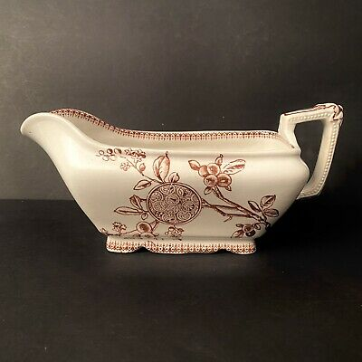 ANTIQUE 1880's Wharf Pottery Aesthetic Brown Transferware Gravy Boat Victorian • 29.26£