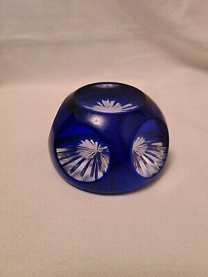 Vintage Webb Corbett Faceted Blue On Clear Glass Paperweight • 45£