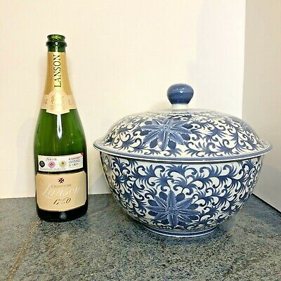 Vintage Very Large Statement Oriental Hand Painted Blue & White Pot Chinese? • 54.99£