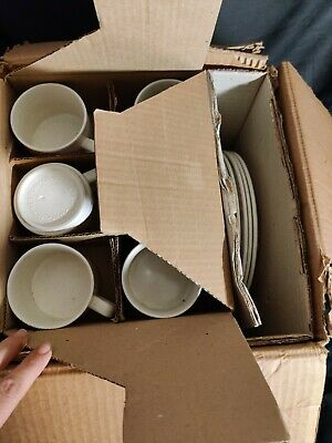 Churchill Stoneware MINT Boxed Homespun Trees Pattern Full Dinner Set 36 Pieces • 49.99£