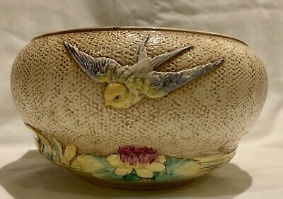 Rare Bretby Art Pottery Bowl Planter Swallows And Water Lily Relief Design 3119E • 35£