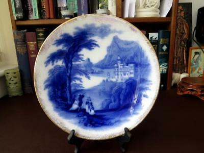 19th C Victorian Flow Blue Cabinet Plate  Jenny Lind  Pattern • 39.99£
