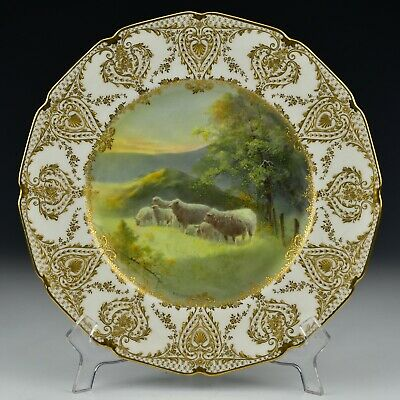 Signed C.B Hopkins Royal Doulton Porcelain Cabinet Plate W/ Sheep & Raised Gold • 194.20£
