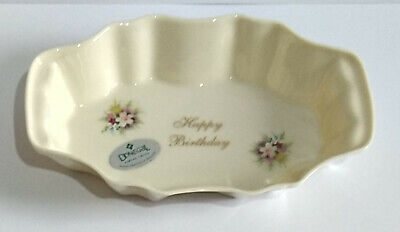 Donegal China Irish Trinket Dish For Sweets Or Jewellery - Floral Happy Birthday • 12.94£