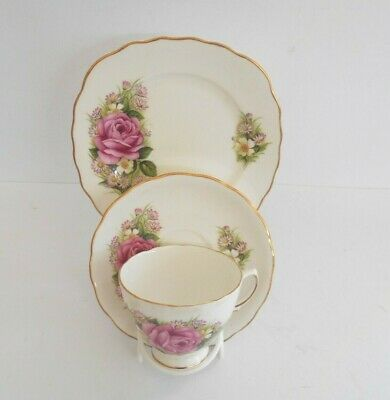 Royal Vale Pink Rose English Bone China Cup Saucer Plate Trio. • 7.99£