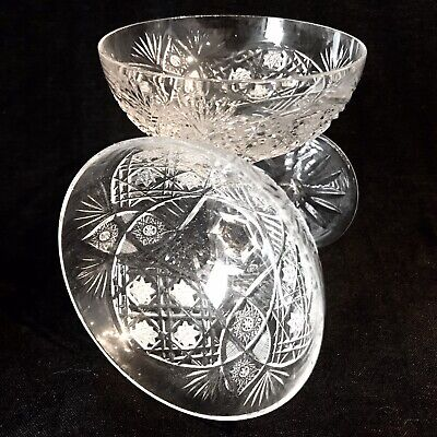 FABULOUS PAIR Of EDWARDIAN CUT CRYSTAL CHAMPAGNE SAUCERS/COUPES Vintage C1910 • 75£