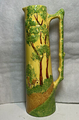 VINTAGE POTTERY TALL HAND PAINTED COTTAGE PATTERN JUG Possibly RADFORD • 11.95£
