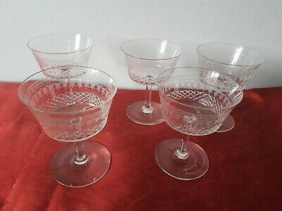 Set Of 5 Antique Victorian Etched CHAMPAGNE /  WINE Coupe Glasses • 33£