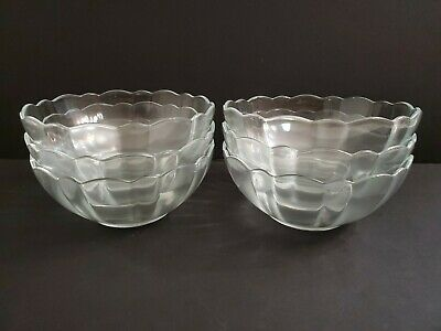 6 Arcoroc France Berry Dessert Bowls Dishes Clear Flower Petal Scalloped Edge • 25.67£