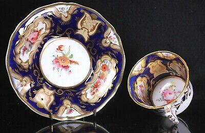 Antique Possibly Coalport Duo Coffee Cup And Saucer Circa 1820 • 51£