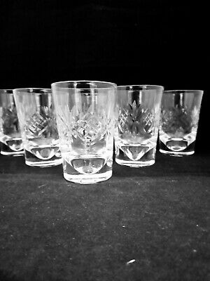 6x Heavy Base Quality Lead Crystal Cut Glass Whisky Tumblers (A5) • 19.99£