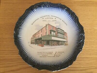 ANTIQUE BLACKPOOL INDUSTRIAL CO-OP SOCIETY COMMEMORATIVE PLATE 1885-1906 Longton • 15£