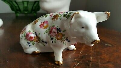 Vintage - Fenton China Co - English Bone China - Pig Figurine- Floral VGC • 3.99£