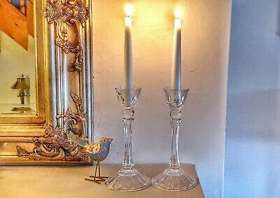 Lovely Vintage Pair Of Clear Glass Candlesticks  22cm Tall Excellent Condition  • 27.50£
