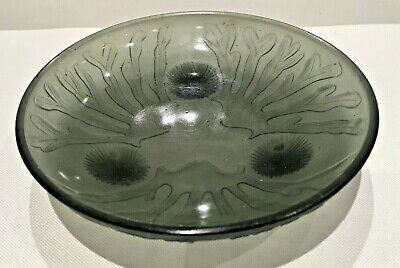 Art Deco SABINO French Grey Smoked Glass Footed Dish 10cm Sea Urchin RARE • 14.99£