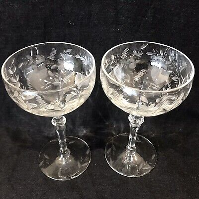 EXQUISITE ART DECO CRYSTAL CHAMPAGNE SAUCERS/COUPES X2 Vintage C1930 • 60£