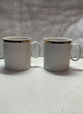 Thomas China - Medallion Wide / Thick Gold Band - 2 X Cups Cans • 2.95£