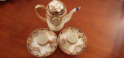 Noritake Vintage Hand Painted Coffee Pot And X2 Cups And Saucers • 5£