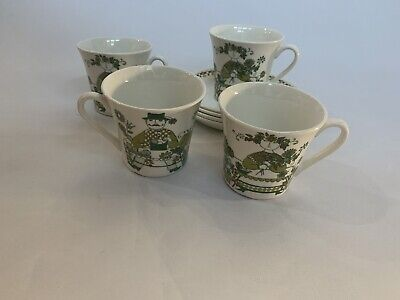 Vintage Figgjo Flint Norway Floral Turi Market Design Four Cups And Saucers • 40£