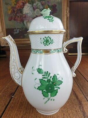 HEREND Apponyi, Green Chinese Bouquet Large Coffee Tea Pot, 1.3 L  #611/AV • 220£