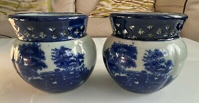 Pair Of Victoria Ironstone Blue & White Vase/Flower Pots • 70£