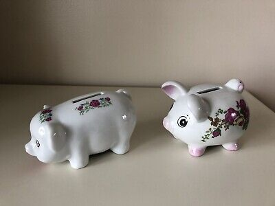 Two Vintage Floral Piggy Banks With Stoppers • 1.99£