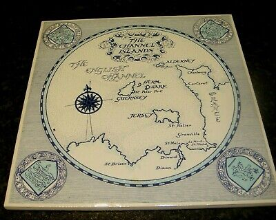 Jp Jersey Pottery Channel Islands Tile Which Shows The Map Of Channel Islands  • 3£
