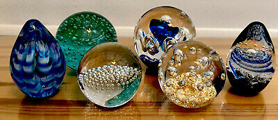 Collection Of Vintage Glass Paper Weights X 6 Various Colours And Sizes • 17£