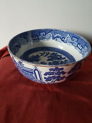Large Antique Bue & White Willow Pattern Crown Pottery Bowl  22 Cm • 9.99£