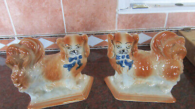 Antique Staffordshire Flatback Wally Fireside/ Mantle Dogs  • 10£