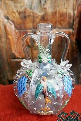 Venetian Painted Two Handled Decanter/bottle, Hand Blown • 5£