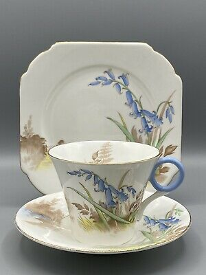 Shelley Bluebells Trio - Cup, Saucer And Side-plate Ws069 Pattern Regent Shape • 14.95£