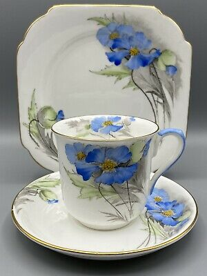 Shelley Himalayan Blue Poppy Trio - Cup, Saucer And Side-plate 12333 Pattern • 14.95£