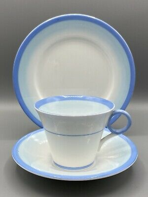 Shelley Blue Bands On White Trio - Cup, Saucer & Side-plate Wr082 Regent Shape • 12.95£