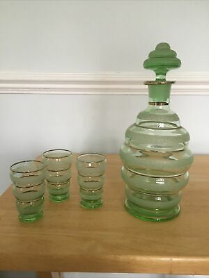 Vintage Green Glass With Frosted & Gold Rings Decanter 24cm High & 2 Glasses • 21.80£
