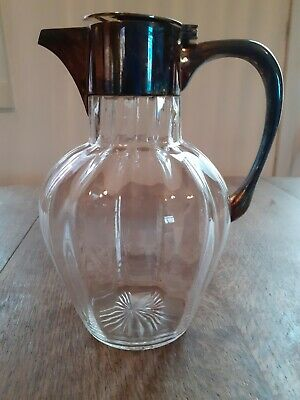 Antique Silver Plated Glass Wine Decanter • 12.50£