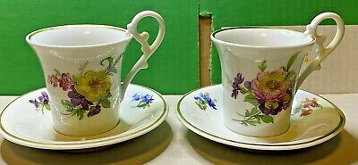 Kaiser-2x Espresso Cup W/ Plate-Porcelain China-Hand Painted-Coffee-Vintage • 34.99£