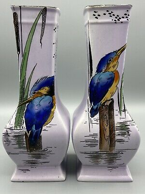 Pair Of Shelley Kingfisher Vases 773 8662 • 14.95£