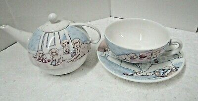 Aynsley Fine Bonbe China Set-Dog Family. Teapot, Cup And Saucer • 10£