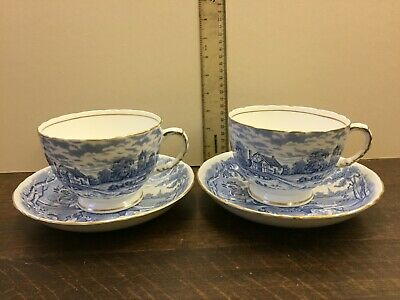 Two H&M Sutherland Bone China Large Cups And Saucers Rural Scene • 36£