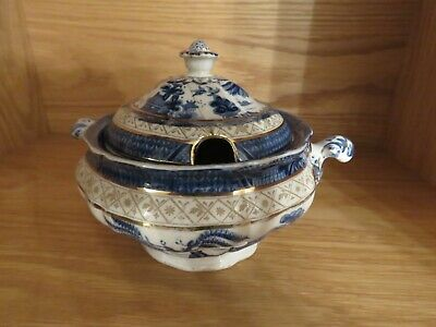 ANTIQUE BOOTHS REAL OLD WILLOW 9072 SMALL SAUCE TUREEN + LID GILDED EARLY 20th • 20£