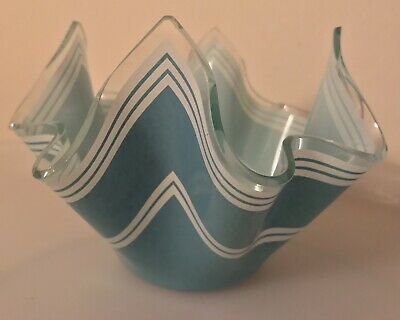 Chance Glass Handkerchief Vase - Green With White Stripes • 7.50£